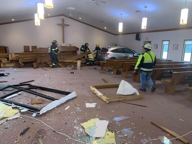 A car drove into Zion United Methodist Church on Progrant Road in Little Chute on Dec. 13.