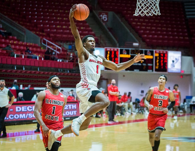 Ball State's K.J. Walton shoots past Illinois State's defense during their game at Worthen Arena Saturday, Dec. 12, 2020.