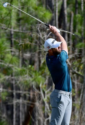 Kevin Tway watches his tee on the 8th hole during the QBE Shootout at the Tiburón Golf Club in Naples, Sunday,Dec.13,2020.( Photo/Chris Tilley/Special to the Naples Daily News)