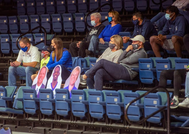 West Florida fans social distance during second half action against the Lee Flames Saturday, December 12, 2020 at the UWF Field House.