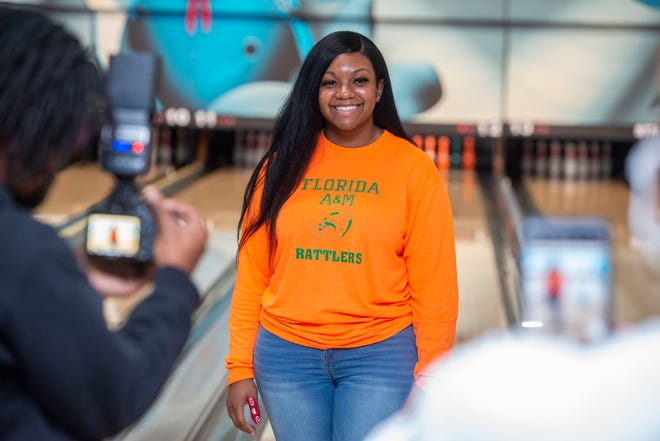 Pensacola High's Jordan Shipp poses for a photo at Strikerz Bowling Center after revealing that she will be going to Florida A&M on a bowling scholarship Saturday, December 12, 2020.