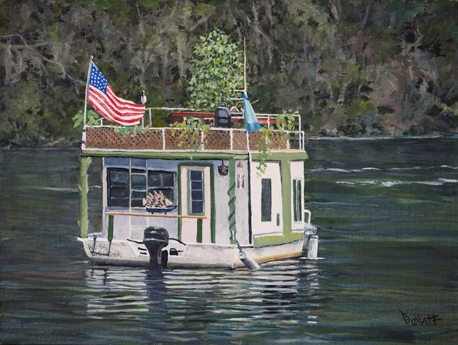 Robert D. Smith,Ingram's Boathouse on Lake Talquin, 2020, oil on canvas, 16 x 12 inches