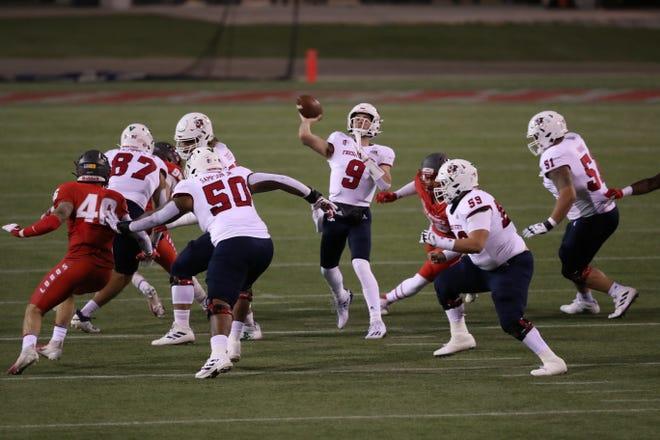 Fresno State quarterback Jake Haener throws against New Mexico on Dec. 12, 2020 at Sam Boyd Stadium in Las Vegas.