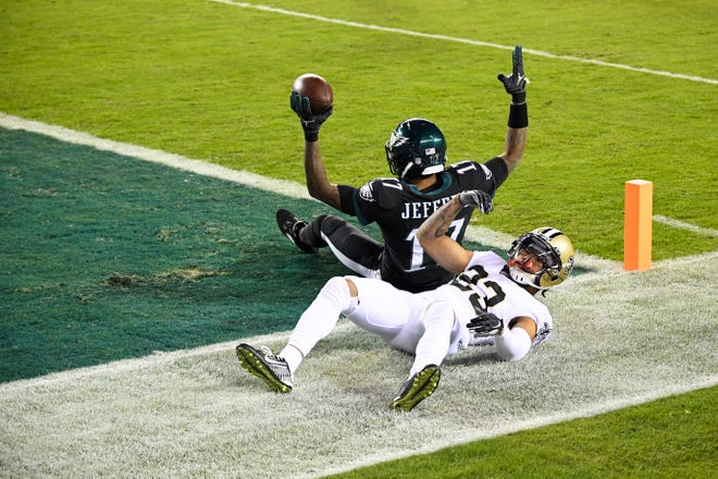 Eagles' Alshon Jeffery (17) scores a touchdown against the Saints Sunday, Dec. 13, 2020 in Philadelphia.