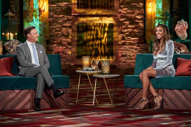 "Tayshia Adams (right) joined Chris Harrison last season to reflect on her season of ""The Bachelorette."""