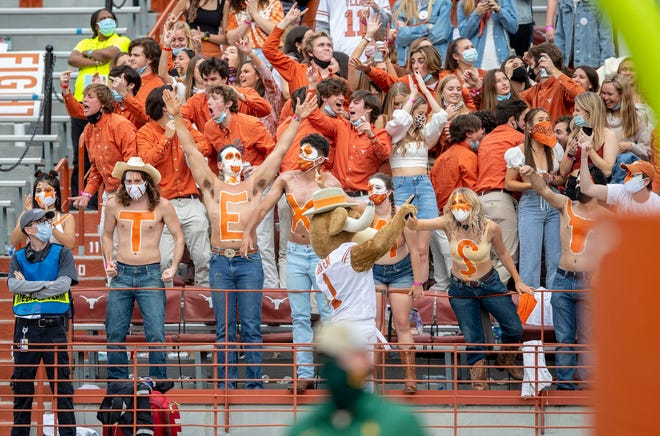 Texas fans cheer during the Longhorns' win over Baylor at Royal-Memorial Stadium on Oct. 24. The Horns finished the season in third place in the Big 12 race and are Plan B for the conference championship game.
