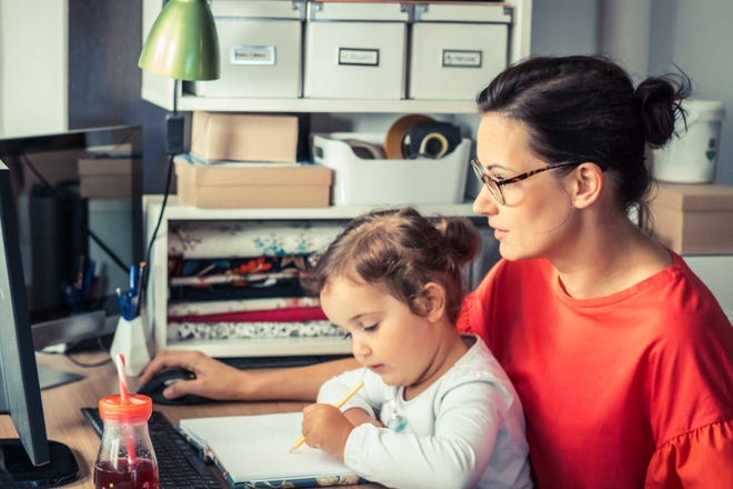 This year's work-from-home and teach-from-home blend is having a negative impact on parental careers, particularly the careers of mothers, according to some research.