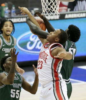 Ohio State forward Zed Key didn't start in place of E.J. Liddell, but the freshman came off the bench for 12 points and 10 rebounds in the Buckeyes' 67-61 victory over Cleveland State on Sunday.