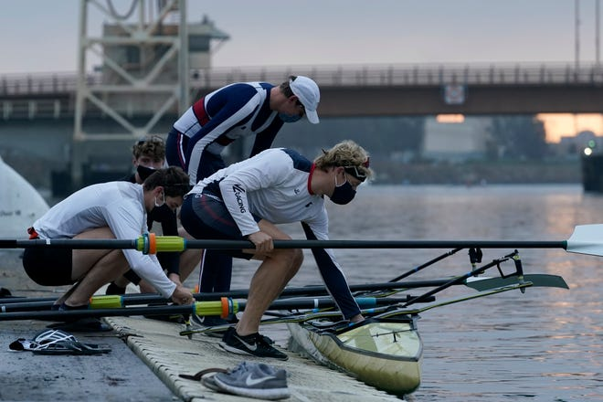 Tom Peszek, from foreground to rear, Nick Mead, Alexander Richards and Alex Wallis practice on the Oakland Estuary in November.