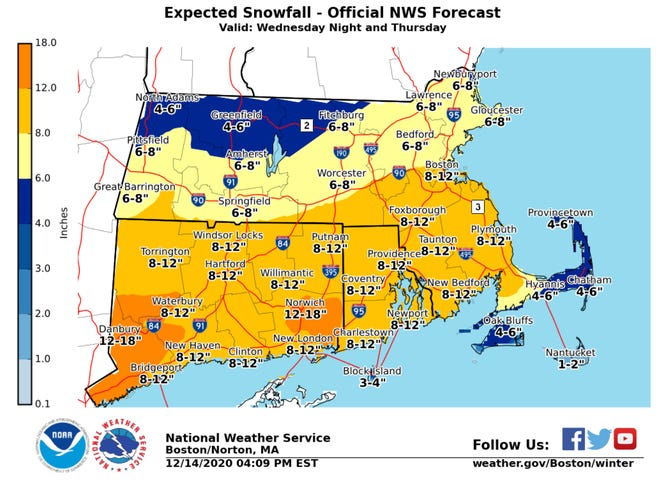 Snow totals map
