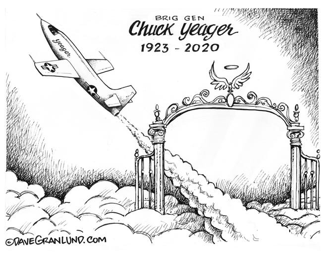 Dave Granlund cartoon on the passing of Chuck Yeager