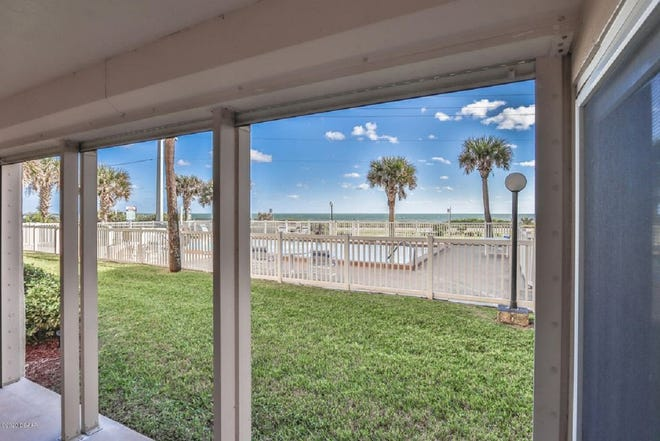 This desirable first-floor condominium in the Sunrise community looks out on the pool, with the gorgeous Atlantic Ocean as its backdrop.