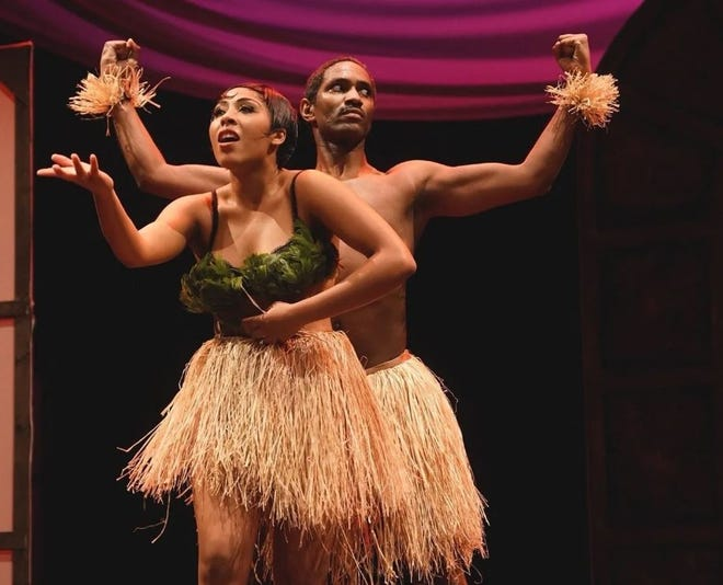 """Iris Beaumier, as Josephine Baker, and James A. Pierce in """"The Dark Star from Harlem: The Spectacular Rise of Josephine Baker."""" The musical earned director Tai Thompson, a 2002 Mainland High School graduate, an AUDELCO Award."""