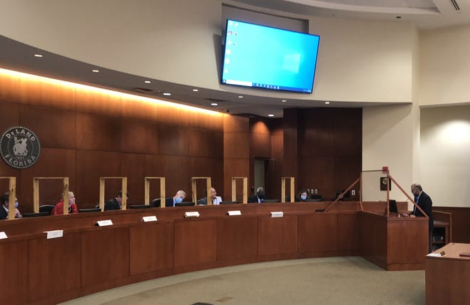 Lawmakers hear the testimony of Daytona State College President Tom LoBasso at Monday's Legislative Delegation meeting. A parade of speakers offered suggestions to state representatives and senators ahead of the 2021 Legislative Session.
