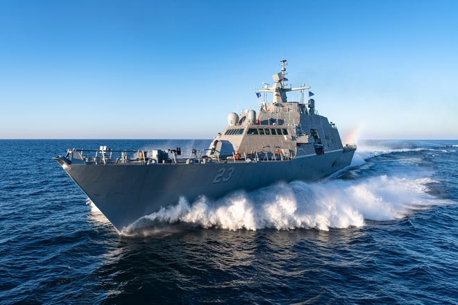 The ship that will be commissioned the USS Cooperstown completes acceptance-trial testing on Lake Michigan. The ship will be stationed at Naval Station Mayport after entering service.
