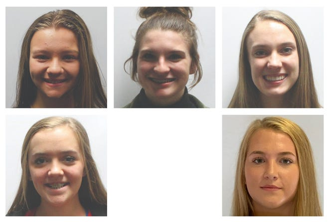 All-state volleyball selections by the Texas Girls Coaches Association. Top from left: Gunter's Nyah Ingram, Rayanna Mauldin and Jacee Childers. Bottom from left: Tom Bean's Raylynn Adams and Chloe Farrer.