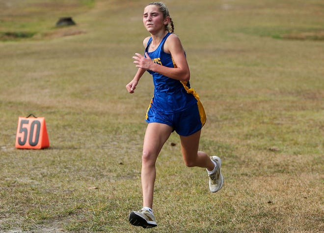 Richlands' Reagan Stapleton won the girls' race Saturday in the Onslow County cross country meet at Northeast Creek Park. [Tina Brooks / The Daily News]