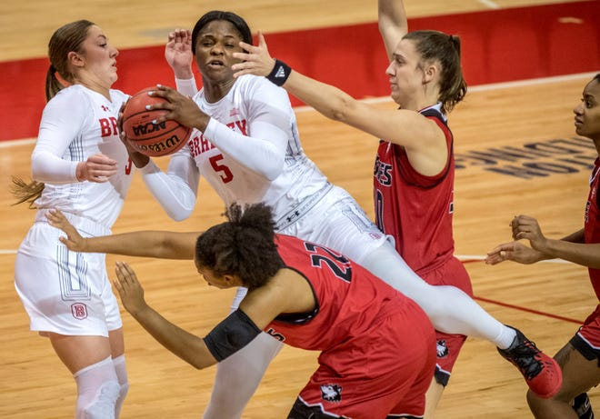 Bradley's Uche Ufochukwu comes down with a rebound on top of the Northern Illinois defense Sunday, Dec. 13, 2020 at Renaissance Coliseum. The Braves defeated the Huskies 79-71.