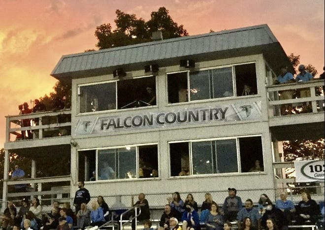 The Frankfort Press Box from which Amy Cowgill performs her football announcing duties.
