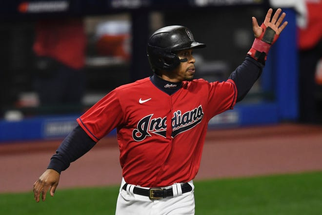 Francisco Lindor scores a run during Game 2 of an American League wild-card baseball series against the New York Yankees on Sept. 30, 2020, in Cleveland. His baseball team in Cleveland will reportedly drop its mascot name of the Indians.