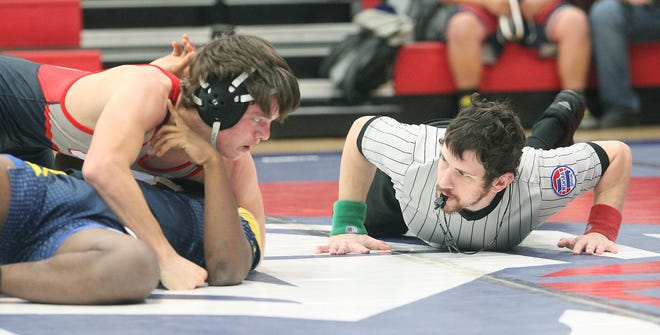 Moberly freshman 138-pound wrestler Gage St. Clair (on top) carries a 2-1 record into this weekend's Spartans Duals hosted at the high school. Wrestlers from nine schools are scheduled to compete in this two-day event where each team competes in a total of seven dual matches. The event starts at 5:30 p.m. Friday and 10:30 a.m. Saturday, but spectators must wear an appropriate PPE mask and follow social-distancing guidelines.