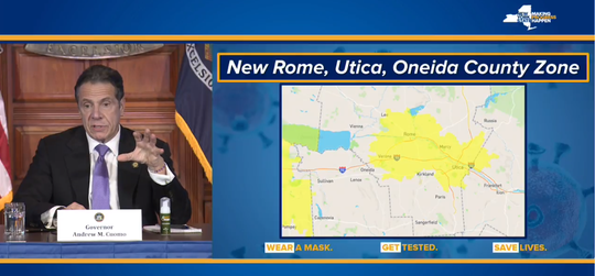 Utica and Rome were placed into a Yellow Zone on Monday by Gov. Andrew Cuomo due to a rise in coronavirus cases and hospitalizations.