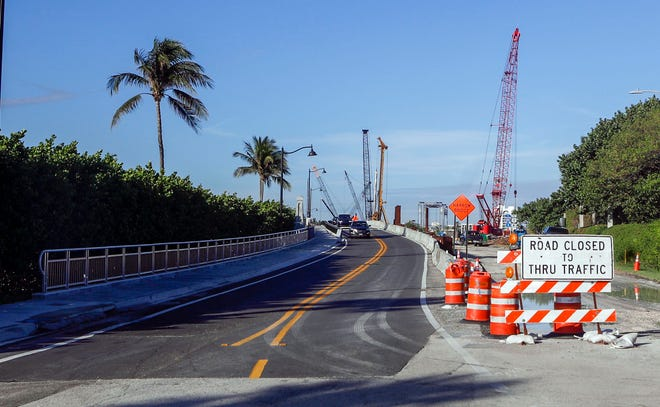 The tide relief bridge that sits next to Mar-a-Lago and connects the island to the Southern Boulevard drawbridge is now open for traffic. It is only partially completed, so while motorists use the south side, the north side remains under construction, according to the Florida Department of Transportation.