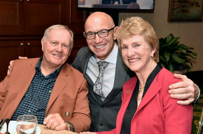 Tim Rosaforte poses between Jack and Barbara Nicklaus during The Jake 2017 event for the Nicklaus Children's Hospital when Tim was the emcee