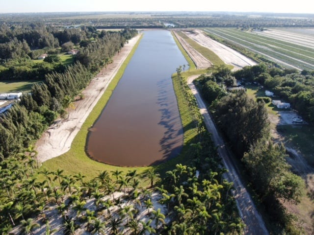 Drone pictures from Valencia Reserve show the large lake that has been built without permits south of Boynton Beach Boulevard and west of Lyons Road.