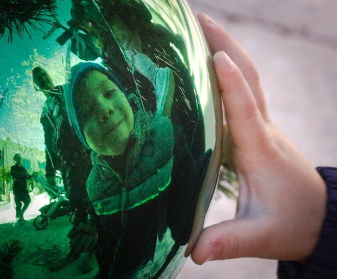 Palm Beach Gardens resident Johnny Reade, 3, moves in for a closeup look at himself in one of the ornaments on the Worth Ave. Christmas Tree.