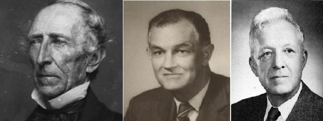 These file photos show, from left, former President John Tyler, former Virginia Gov. Mills E. Godwin Jr., and former Chesterfield state Sen. Lloyd C. Bird. Last month, a special John Tyler Community College task force recommended the name of Tyler be stripped from the college, and the names of Godwin and Bird be stripped from buildings on the JTCC Chester campus, because of the men's historical ties to slavery and segregation in Virginia.