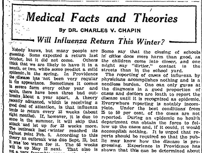 A column on influenza written by Dr. Charles Chapin in 1921 struck a hopeful tone.