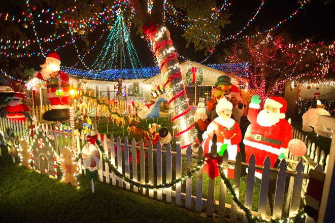 Christmas lights on the house at 3909 Estate Drive in Stockton.