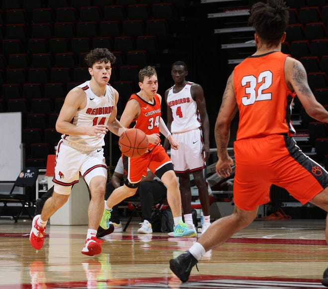 Nik Stadelman brings the ball up on a fast break for Illinois State against Greenville University on Dec. 2.