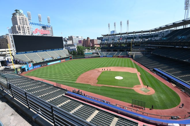 A general view of Progressive Field in Cleveland, and a nickname soon will be missing above the left field scoreboard.