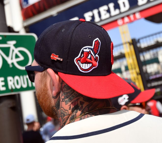 Chief Wahoo is seen on a Cleveland ballcap.