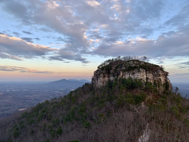 The Pilot Mountain State Park's summit area offers this view of the iconic geologic formation near Winston-Salem.