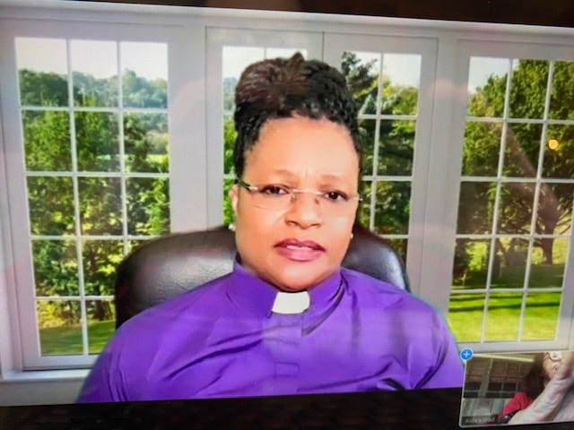 The Rev. Mary L. Mitchell, pastor of Bartley Temple United Methodist Church, delivers a powerful message to parishioners via Zoom during the church's Sunday morning worship service.