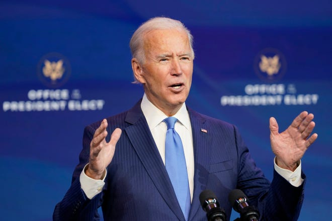 President-elect Joe Biden announces his choice for several positions in his administration during an event at The Queen theater in Wilmington, Del., on Dec. 11.