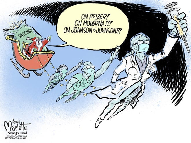 Vaccine can't get here soon enough for a Merry Christmas. By Andy Marlette.