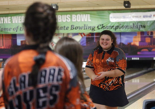 Delaware Hayes' Makayla Pounds smiles after rolling a strike during the Division I state tournament last season. Pounds, a sophomore, placed 63rd at state with a 474 three-game series after rolling a 550 at district to finish sixth.