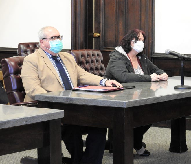 Attorney Seth Arkow with client Pamela Bordenkircher this week in Coshocton County Common Pleas Court. She received 12 months in prison and was ordered to pay restitution of $28,680.82 to the Coshocton County Fair Board. Bordenkircher served as secretary of the fair board from 2013 to 2015 and was indicted for stealing more than $40,000.
