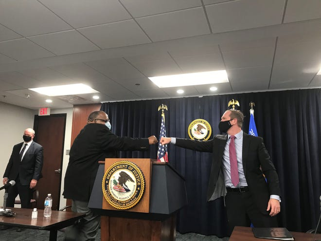 UAW International President Rory Gamble, left, and U.S. Attorney Matthew Schneider on Monday announced a civil settlement they hope will reform the union after a corruption crisis. The pair appeared together for the announcement at the U.S. Attorney's Office in downtown Detroit.
