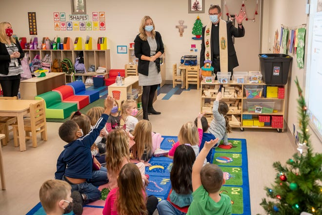 Bishop Timothy Doherty visits the new St. Francis Early Learning Academy in Lafayette, Lafayette Catholic School System's newest preschool. The school opened in August and was dedicated in December.
