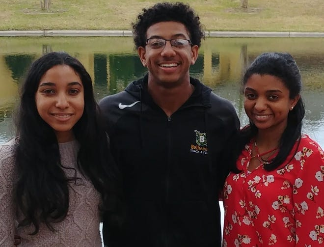 The three Tolliver siblings graduated from Early College Academy and went on to graduate with bachelor's degrees early. From left are Mia Tolliver, John Casey Tolliver and Olivia Tolliver Green.