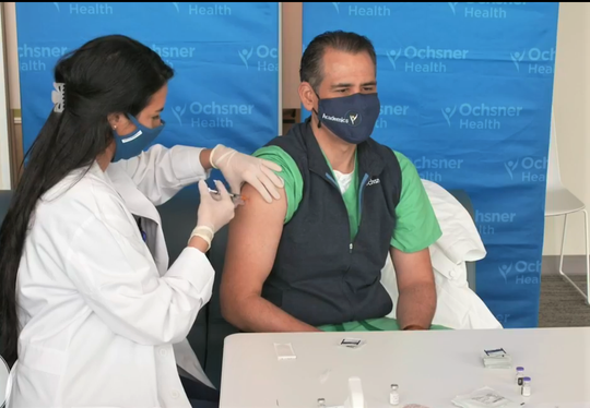 Dr. Leo Seoane, chief academic officer for Ochsner Health System, becomes among the first Louisianans to be vaccinated for COVID-19 as Louisiana's frontline health care workers begin to receive the first COVID-19 vaccinations in the state on Monday, Dec. 14, 2020.