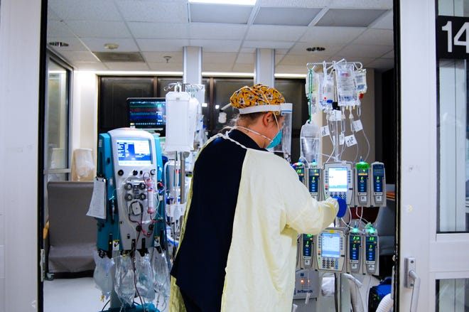 This undated photo provided Dec. 14 by the University of Alabama Birmingham shows the inside of UAB Hospital's COVID-19 intensive care unit.