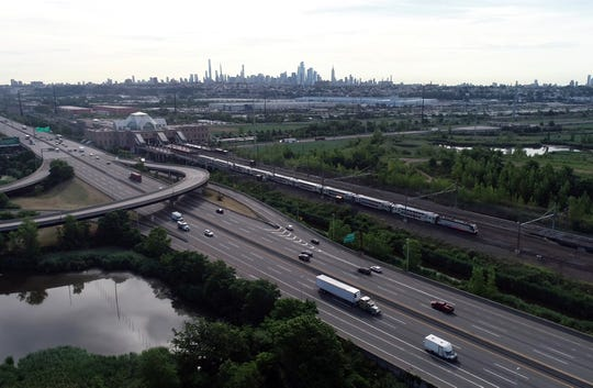 Drone image of an NJ Transit train pulling out of Secaucus Junction on Thursday, June 25, 2020, in Secaucus.