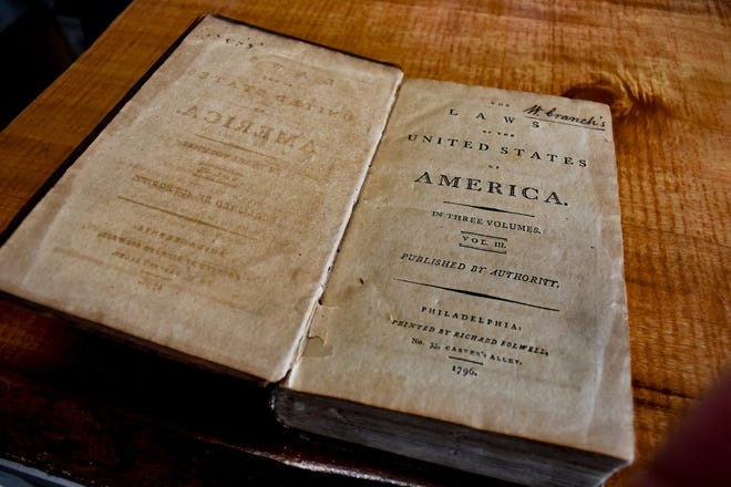 """This 1796 copy of """"Laws of the United States of America"""" is the oldest book currently for sale at Ink & Quill Bookstore which offers several first editions and signed books."""