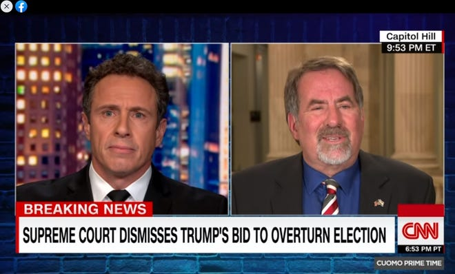 CNN's Chris Cuomo is on the left and U.S. Rep. Doug LaMalfa, R-Richvale, is on the right.